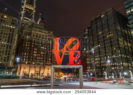 Philadelphia, Usa - Mar 24, 2019 : The Love Park, Officially Known As John F Kennedy Plaza Located I