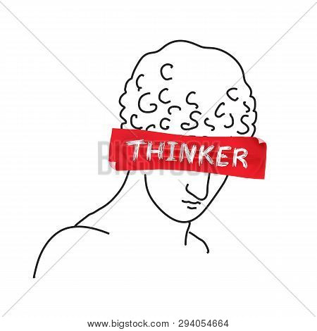 Design For T-shirt With Slogan Thinker On Red Tape. Hand Drawn Vector Illustration.
