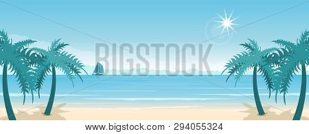 Tropical Paradise Beach With Sand And Coco Palms. Travel And Tourism. Wide Panorama Background