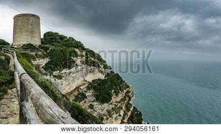 Tajo Tower Wide Panorama Under The Storm In Barbate, Cadiz
