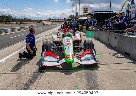 April 05, 2019 - Birmingham, Alabama, USA: PATRICIO O'WARD (R) (31) of Mexico prepares for practice for the Honda Indy Grand Prix of Alabama at Barber Motorsports Park in Birmingham, Alabama.
