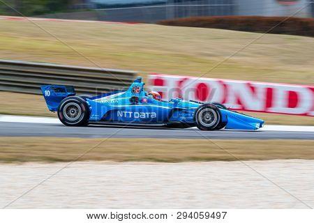 April 05, 2019 - Birmingham, Alabama, USA: FELIX ROSENQVIST (R) (10) of Sweden goes through the turns during practice for the Honda Indy Grand Prix of Alabama at Barber Motorsports Park in Birmingham,