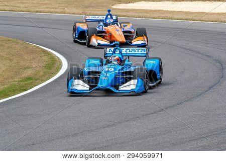 April 06, 2019 - Birmingham, Alabama, USA: FELIX ROSENQVIST (R) (10) of Sweden goes through the turns during practice for the Honda Indy Grand Prix of Alabama at Barber Motorsports Park