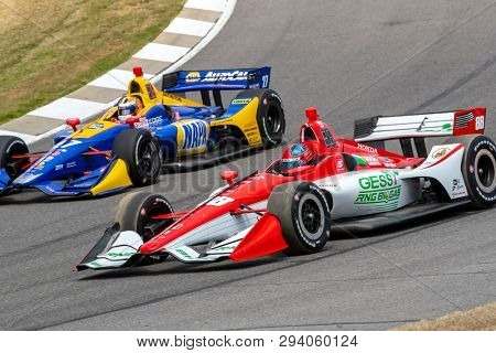 April 06, 2019 - Birmingham, Alabama, USA: COLTON HERTA (R) (88) of The United States goes through the turns during practice for the Honda Indy Grand Prix of Alabama at Barber Motorsports Park