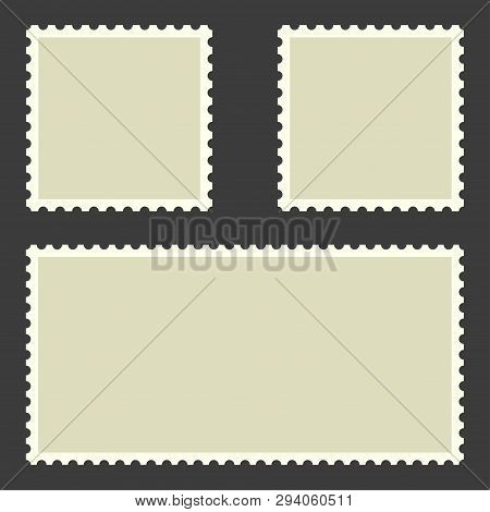 Postage Stamps Collection. Postage Stamps In Flat Design. Blank Postage Stamps On Black Background