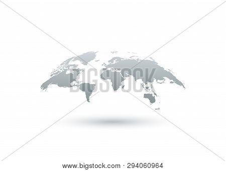 Earth Map. Earth Globe Icon. World Map. Earth In Flat Design