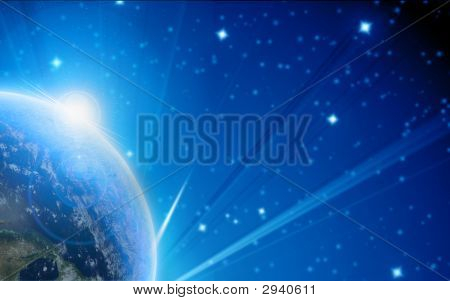 Blue planet earth in outer space with some stars poster