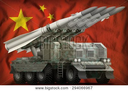 Tactical Short Range Ballistic Missile With Arctic Camouflage On The China Flag Background. 3d Illus