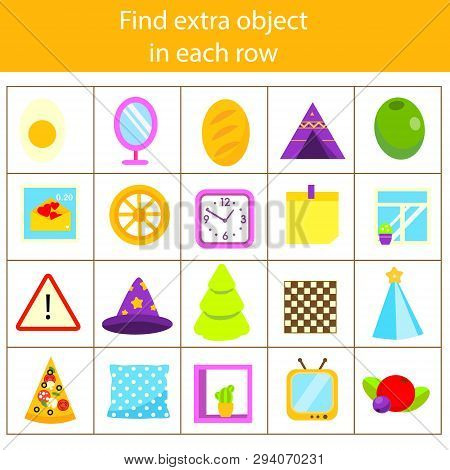 Educational Children Game. Logic Game. What Does Not Fit Type. Find Odd One, Extra Object Fun Page F