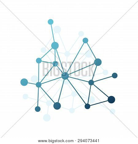 Abstract Vector Triangle Pattern. Blue Gradient Network Element. Lines And Circles Connection Illust