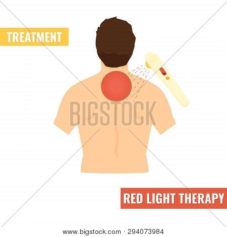Back Pain Vector Icon Illustration Isolated On White Background. Red Light Therapy, Treatment.