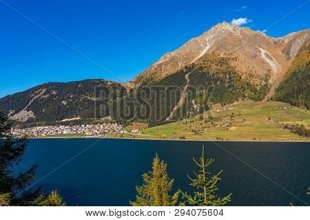 Beautiful View To Lago Di Resia, Lake Reschen, Alto Adige, South Tyrol, Italy