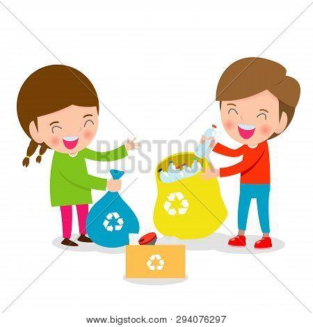 Children Collect Rubbish For Recycling, Illustration Of Kids Segregating Trash, Recycling Trash, Sav