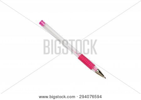Old Used Pink Ball Pen, Isolated On White