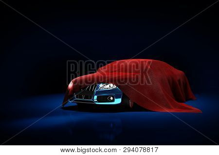 Concept Of Presentation Of The Car Under A Red Cloth In A Darck Blue Studio 3d Rendering Illustratio