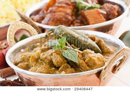 Chicken Vindaloo and Curry