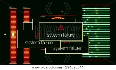 System Failure Pop Ups With On-off Signal, Application Error. Animation. System Failed Messages All