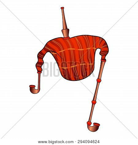Red Bagpipes Icon. Cartoon Of Red Bagpipes Vector Icon For Web Design Isolated On White Background