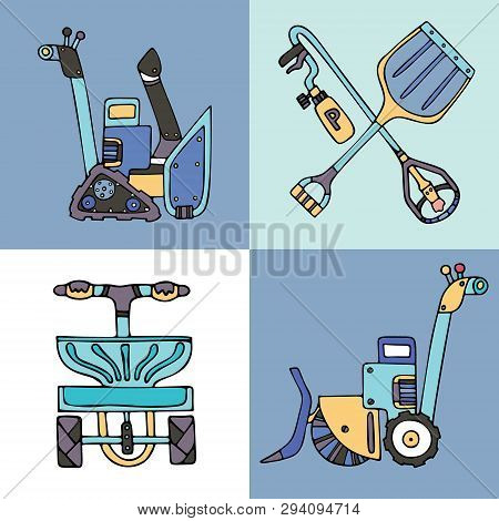 Set Of Snow Removal Equipment: Electrical Shovel With A Sweeper, Snow Blower, Salt Spreader, Shovel