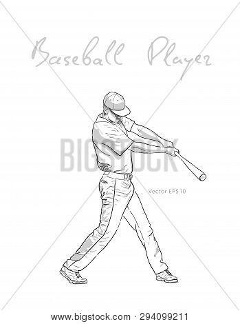 Baseball Player With Bat Hitting The Ball Sketch