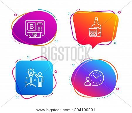 Bitcoin Atm, Whiskey Glass And Creative Idea Icons Simple Set. Time Management Sign. Cryptocurrency