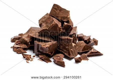 Dark Or Milk Organic Chocolate Pieces Isolated On White Background