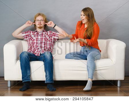 Man And Woman Having Conflict. Female Ignoring What Her Boyfriend Is Saying. Friendship, Couple Brea