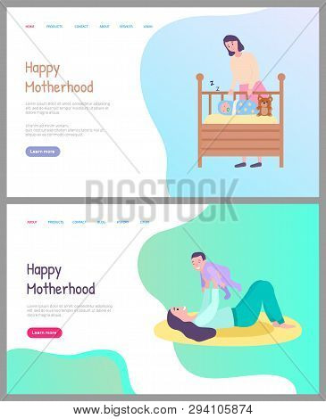 Happy Motherhood Vector, Woman Caring For Newborn Child Sleeping In Cradle Covered With Warm Blanket