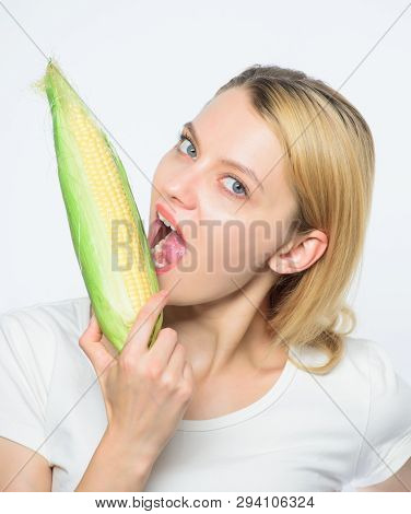 Agriculture And Cultivation. Happy Woman Eating Corn. Vegetable Harvest. Corn Crop. Vitamin And Diet
