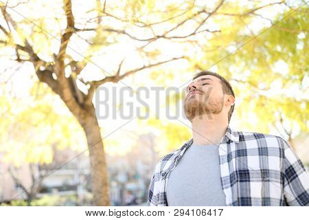 Portrait Of A Man Relaxing Breathing Deep Fresh Air In A Park
