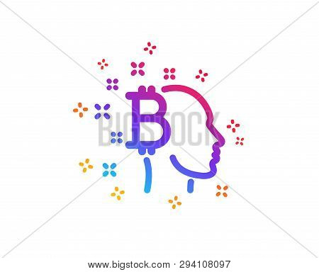 Bitcoin Think Icon. Cryptocurrency Head Sign. Crypto Money Symbol. Dynamic Shapes. Gradient Design B