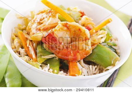 Prawn sweet-sour with vegetable and rice