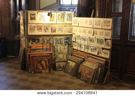 Art Store Antique Interior With Various Paintings Inside Gallery In St. Petersburg, Russia On 02.04.