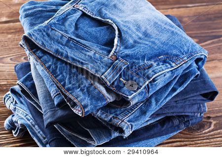 Jeans on the wood board