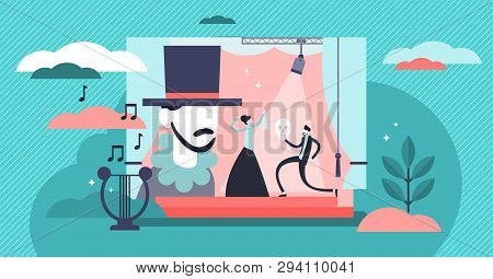 Theater Vector Illustration. Flat Tiny Stage Performance Persons Concept. Opera, Circus Or Musical E