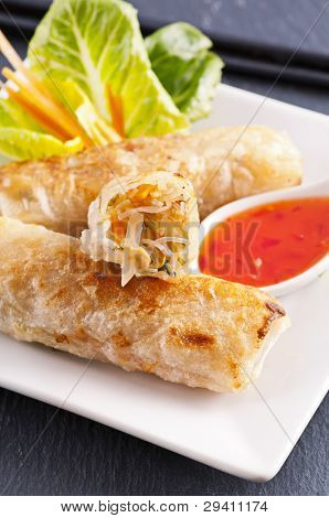 spring rolls with sweet-sour sauce poster
