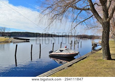 Finland. Beautiful Park Of Savonlinna In A Sunny Spring Day