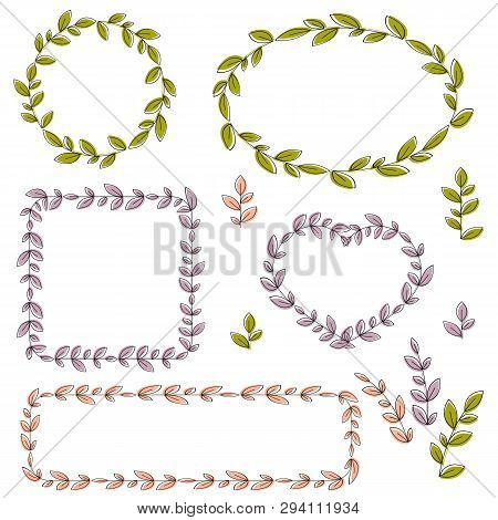 Collection Of Vector Floral Frames And Design Elements. Eps 10