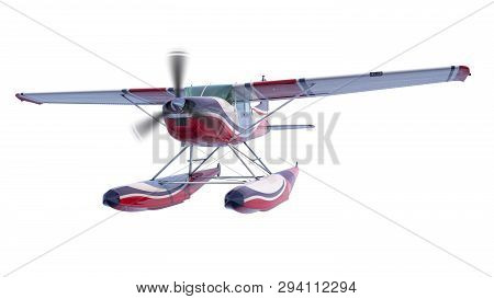 Retro Seaplane Illustration. 3d Render. Isolated On White Background. Propeller Is Rotating And Blur