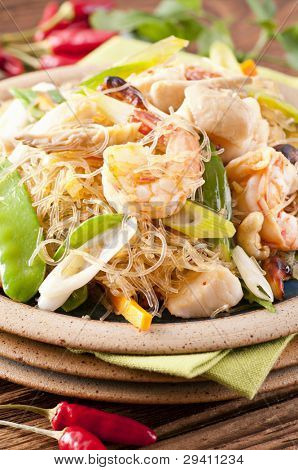 Pad Woon Sen with shrimps and fish poster