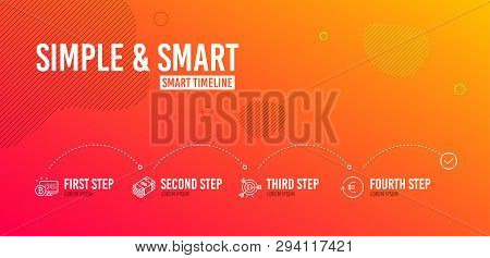 Infographic Timeline. Bitcoin System, Target And Usd Currency Icons Simple Set. Exchange Currency Si