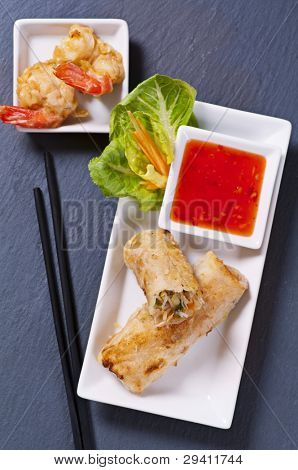 Spring rolls with tempura and sauce poster