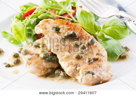 Chicken Piccata with capern and white wine sauce