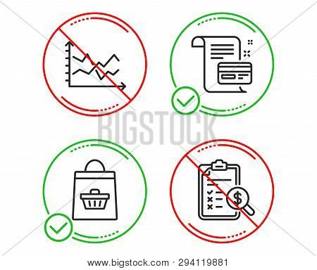 Do Or Stop. Diagram Chart, Online Buying And Payment Card Icons Simple Set. Accounting Report Sign.