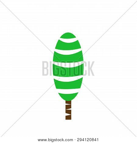 Poplar Tree Beautiful Natural Logo Environment And Plant Concept Green Tip With Brown Trunk