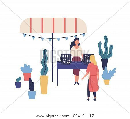 Stall Or Counter With Handmade Jewelry Or Bijouterie, Female Seller And Customer At Summer Outdoor F