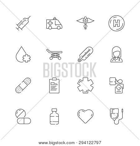 Medical Icon. Urgency Healthcare Emergency Capsule Drugs Pills Vector Thin Line Symbols. Illustratio