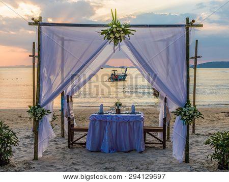 February 2019. Railay Beach Krabi Thailand. A View Of A Dressed Wedding Table At Railay Beach In Kra