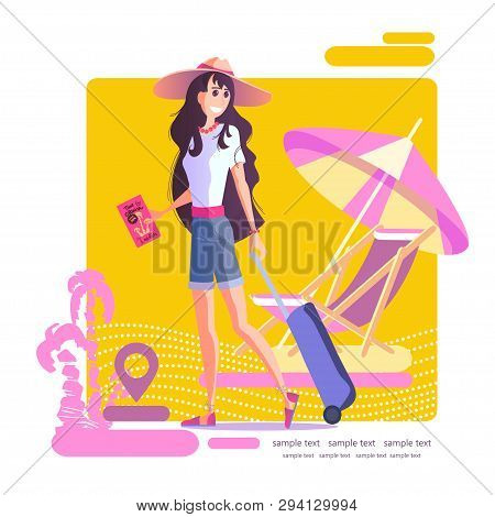Young Girl With A Suitcase. Travel Vacation Concept