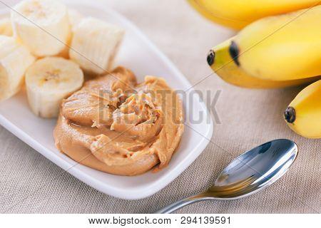 Early Morning Healthy Banana Breakfast. Homemade Peanut Butter And Bananas. Homemade Peanut Butter I